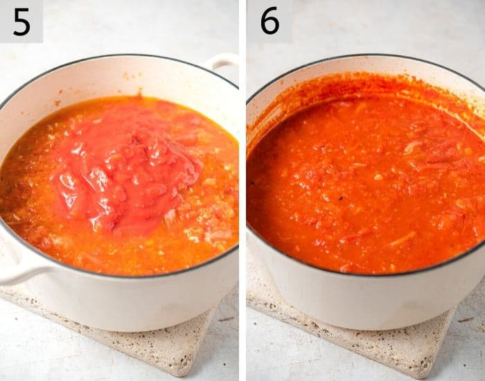 Two photos showing adding tomatoes to soup and the result after cooking