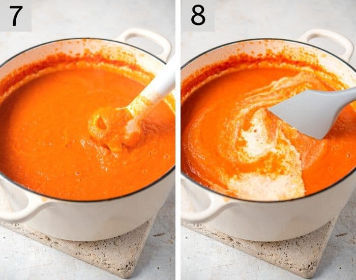 Two photos showing blending soup and adding cream
