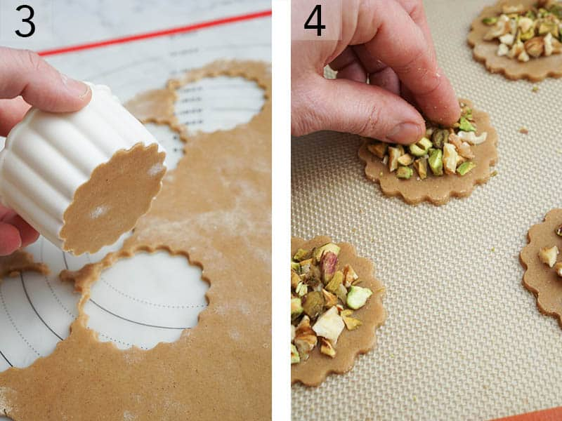 baklava cookie dough getting cut and covered with chopped nuts.