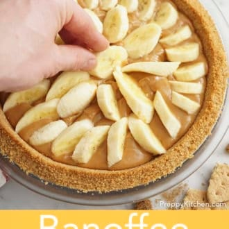 banoffee pie in a glass pie dish before baking