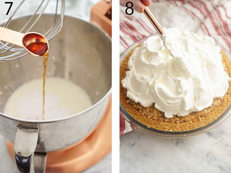 Whipped cream being piled high onto a chilled banoffee pie.