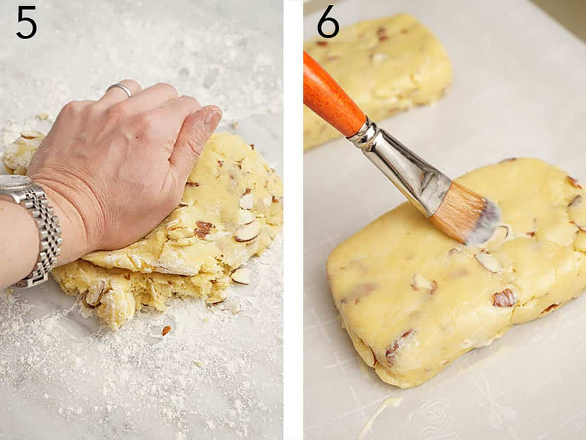 Biscotti dough is formed into a loaf and brushed with an egg wash.