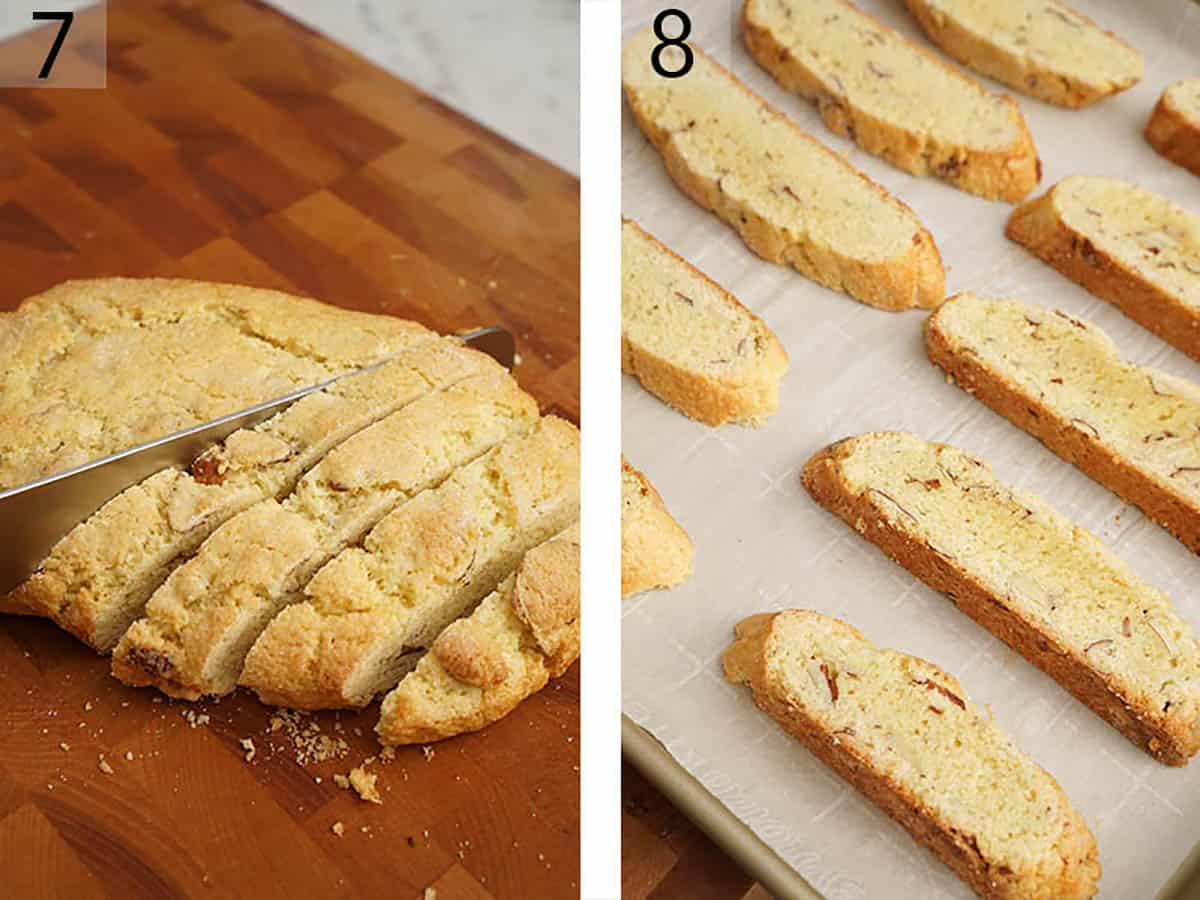 Biscotti dough is sliced into pieces after the first bake.