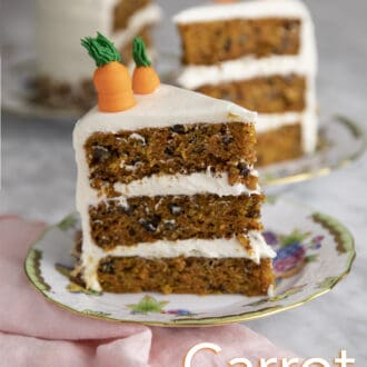 Pieces of carrot cake on porcelain plates.