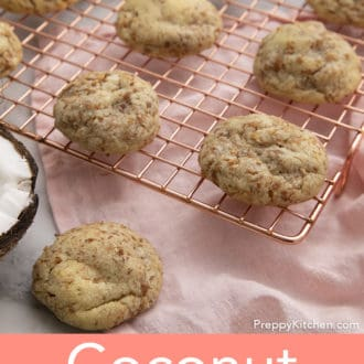 coconut cookies stacked on a wire rack