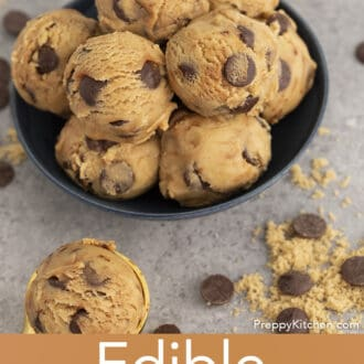 scoops of edible cookie dough in a bowl