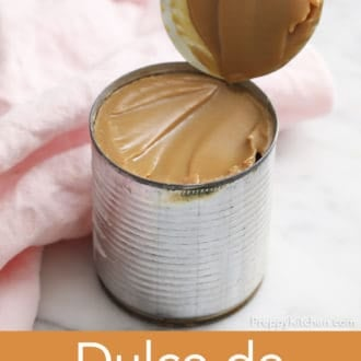 can of sweet and condensed milk after baking into dulce de leche
