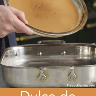 glass pie dish full of dulce de leche