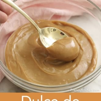 glass bowl filled with dulce de leche
