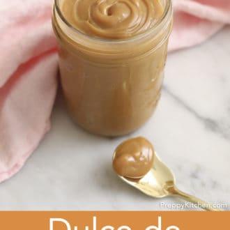 glass jar of dulce de leche on counter