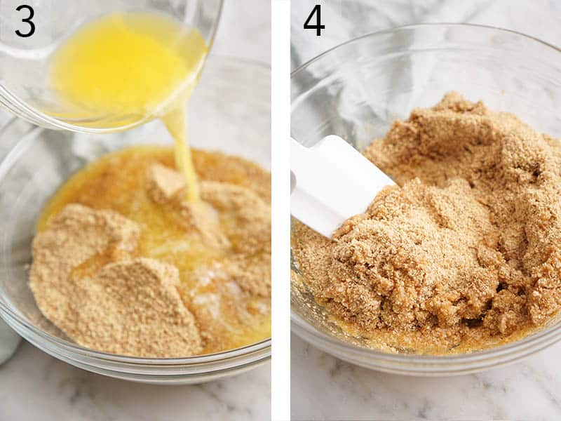 Melted butter pouring into a bowl of graham cracker crumbs.