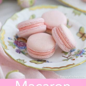 pink macarons on a plate