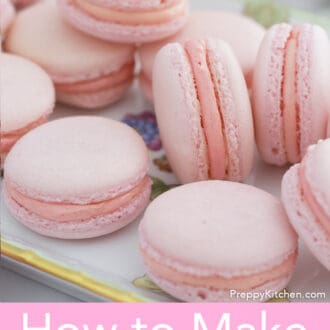 pink macarons on a tray