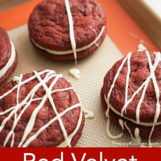 red velvet cookies on a silpat
