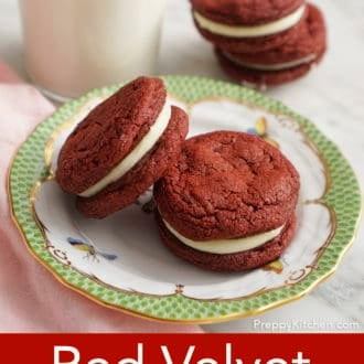 red velvet cookies on a plate