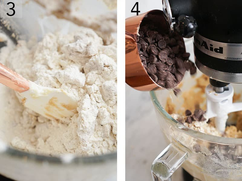 Chocolate chips and oats gooing into cookie dough batter.