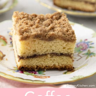 Coffee cake with a streusel topping on plate