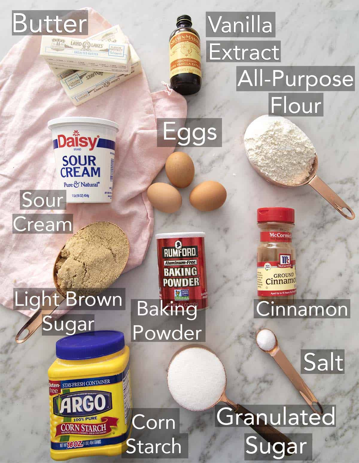 Ingredients for making a Coffee Cake on a counter.