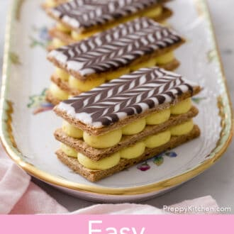 Mille Feuilles on a porcelaine serving tray.