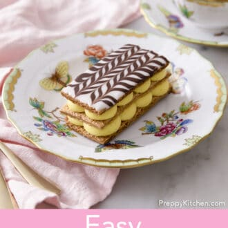 Mille Feuille with dollops of cream.