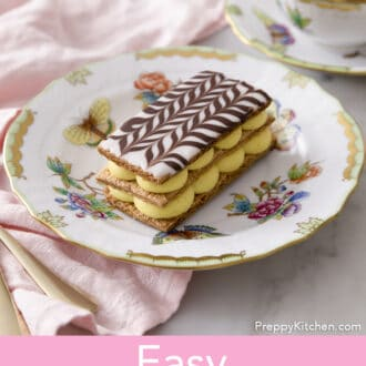 Mille Feuille on a painted plate.
