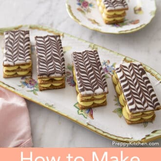 Five Mille Feuille on a tray and plate
