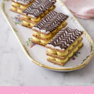 Mille Feuilles on a oval tray.