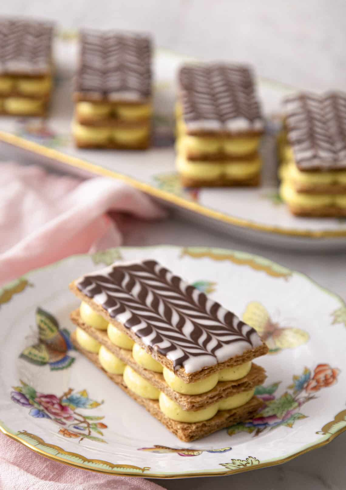 A Mille Feuille on a porcelaine plate.