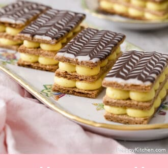 Mille Feuilles made with vanilla bean.