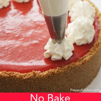 no bake strawberry cheesecake with whipped cream topping