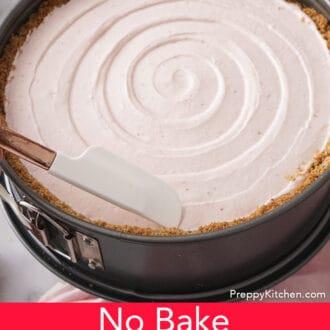 no bake strawberry cheesecake in a springform pan