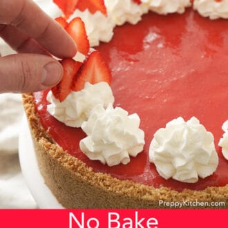 no bake strawberry cheesecake with whip cream dollops
