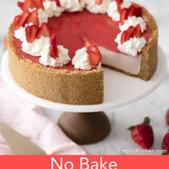 no bake strawberry cheesecake on a stand
