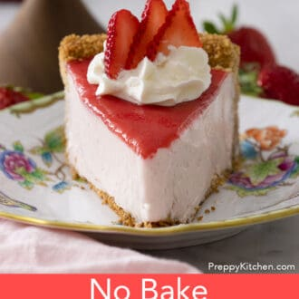 Piece of no bake strawberry cheesecake on a plate