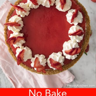 no bake strawberry cheesecake with pink napkin in background