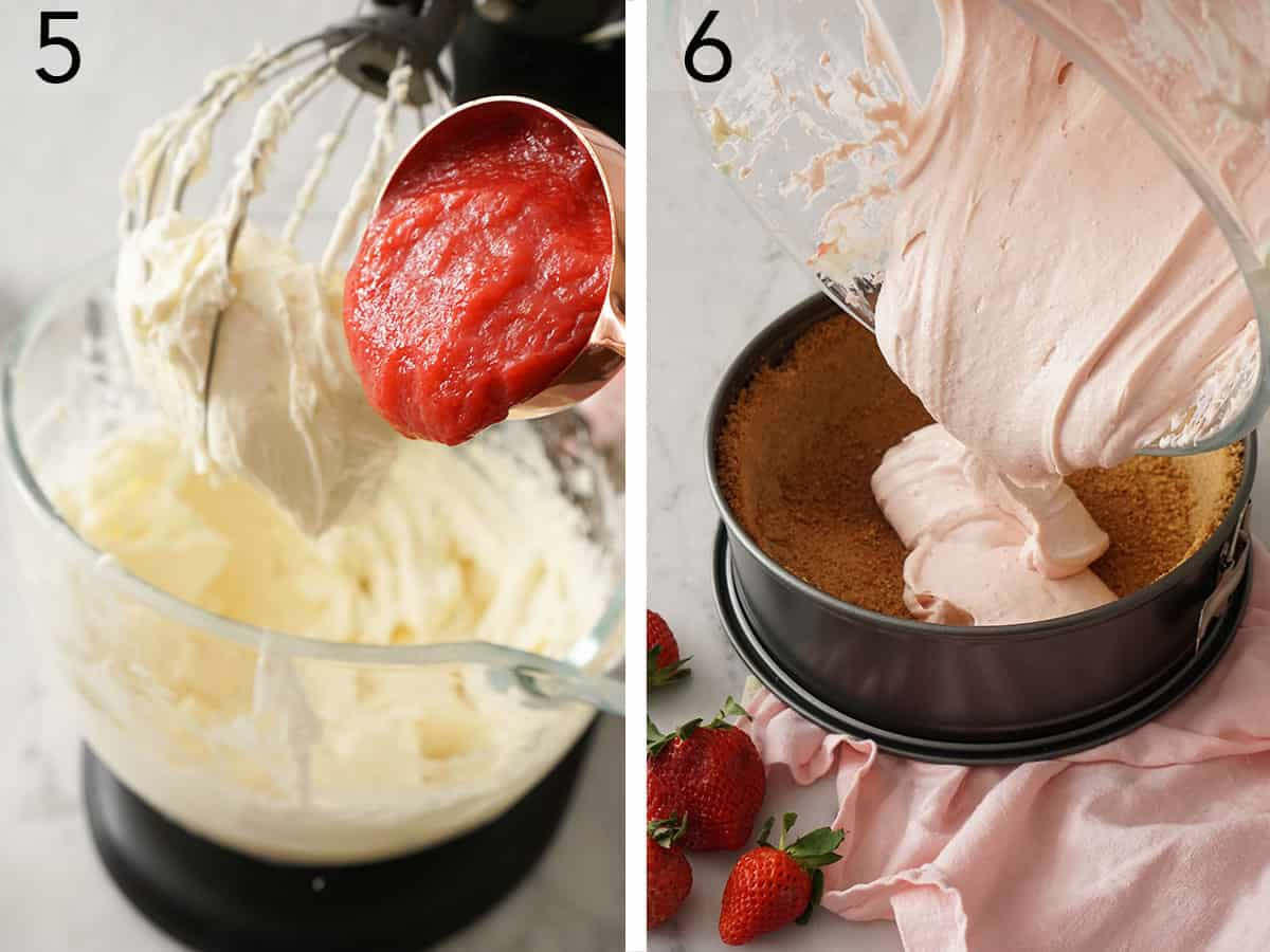 Strawberry reduction mixing into cheesecake batter.