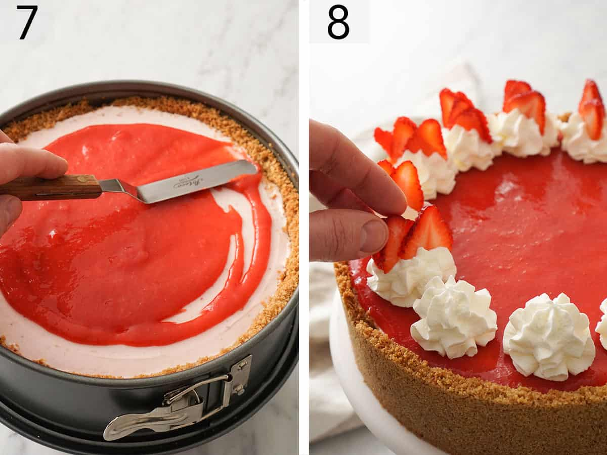 A No Bake Strawberry Cheesecake getting decorated with whipped cream dollops and strawberry slices before serving.