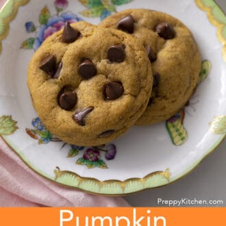 Two Pumpkin chocolate chip cookies