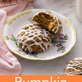 Pumpkin cookies on a plate.