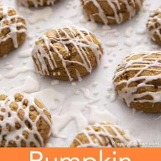 Pumpkin cookies with icing.