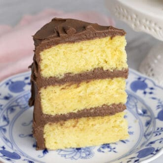 A piece of three layer yellow cake with chocolate frosting on a blue and white plate.