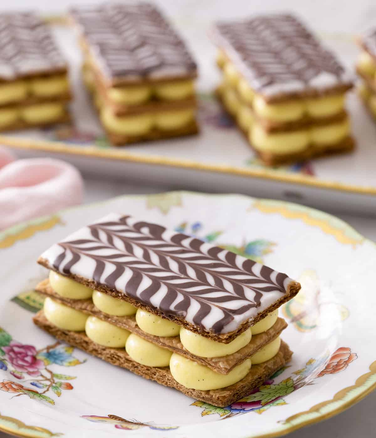 Mille Feuilles filled with vanilla pastry cream.