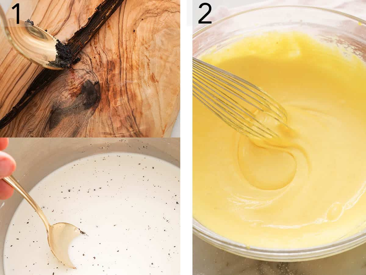 Pastry cream getting mixed with vanilla beans