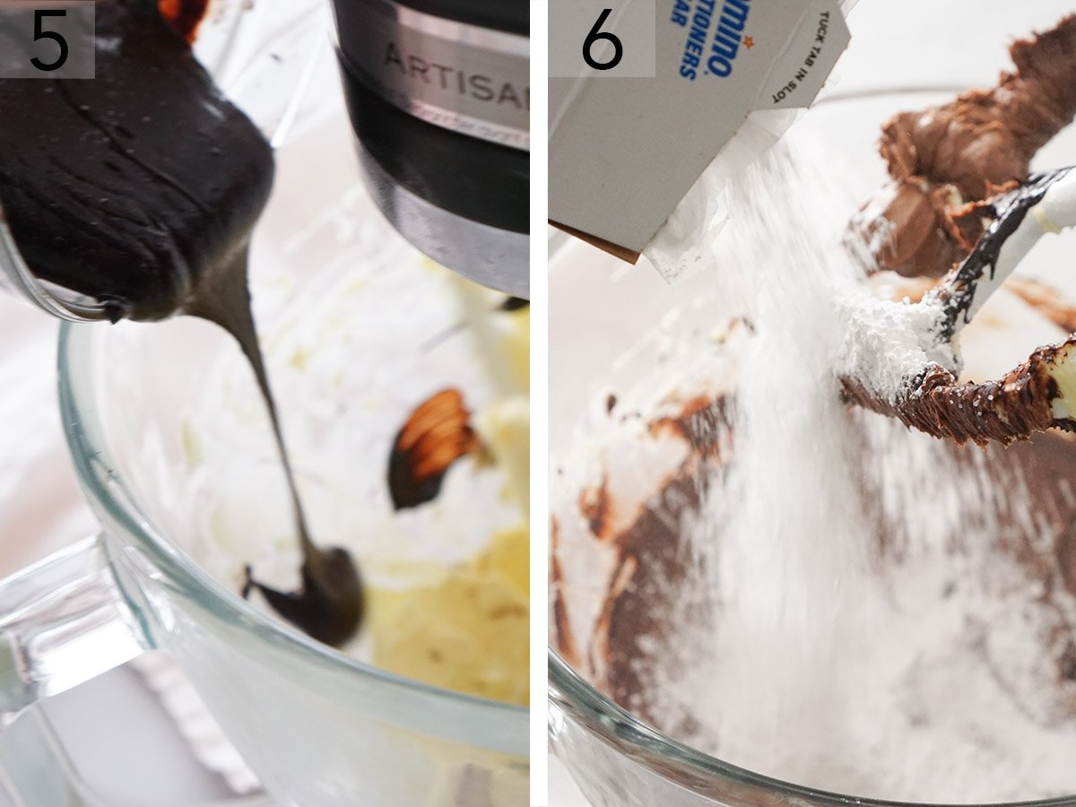 Chocolate buttercream for yellow cake getting mixed in a stand mixer.