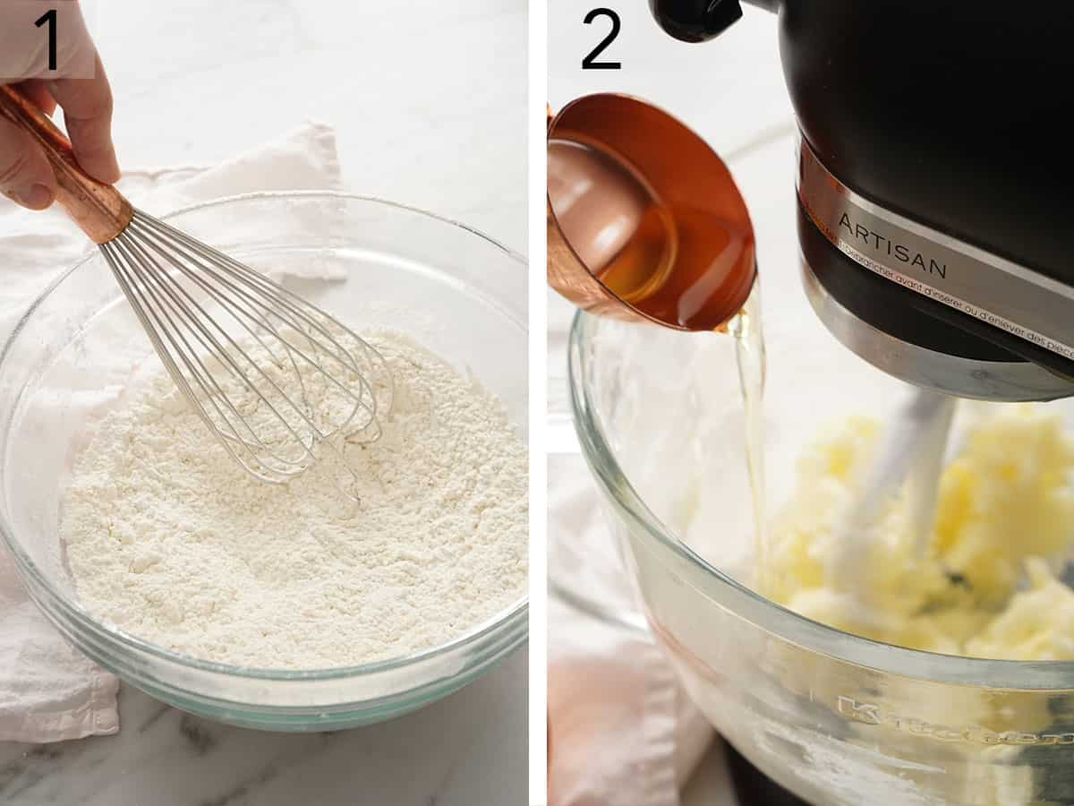 Yellow cake batter getting mixed in a stand mixer fitted with a paddle attachment.