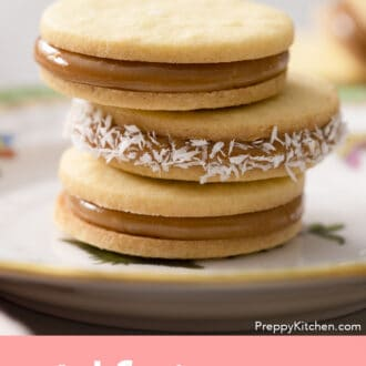 Three alfajores on a plate.