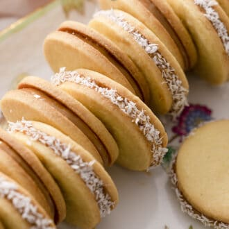 Alfajores cookies on a serving tray.