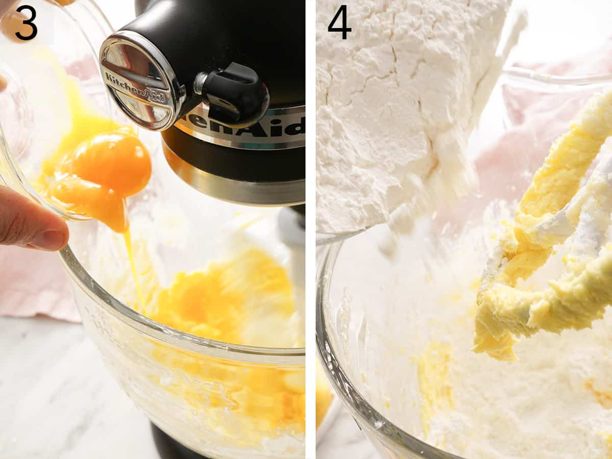 Egg yolks added to a butter sugar mixture to make alfajores cookies.