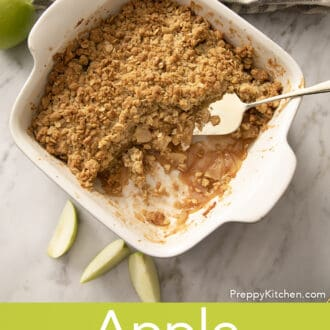 A baking dish filled with apple crisp.