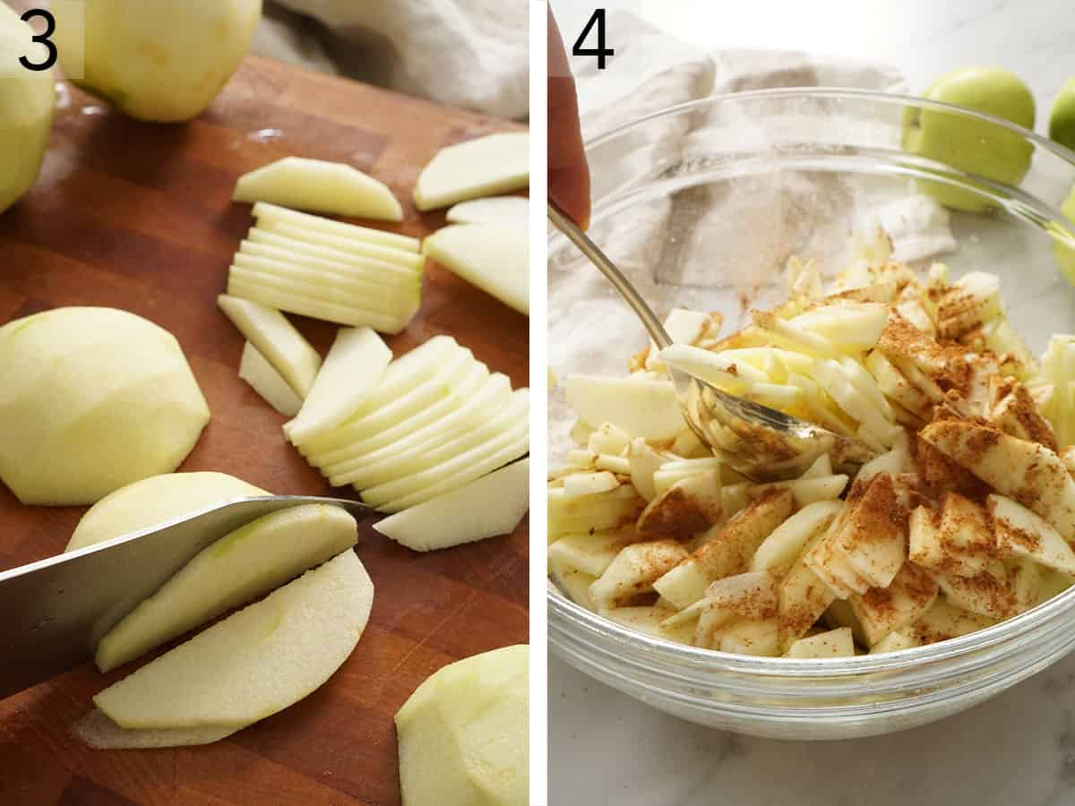 Apples sliced thinly for an apple crisp.